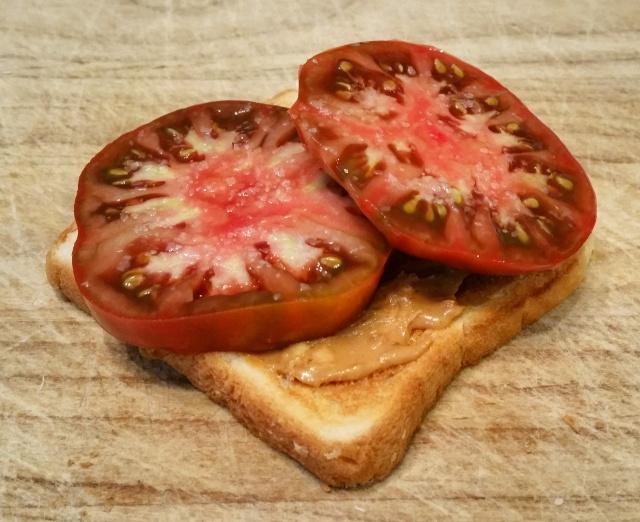 Peanut butter tomato toast